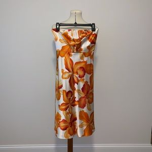 Banana Republic Orange Floral Print Silk Strapless